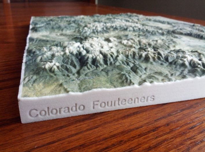 Colorado Fourteeners with holes, 12'' 3d printed Close-up of SouthEast corner, with Spanish Peaks in the foreground