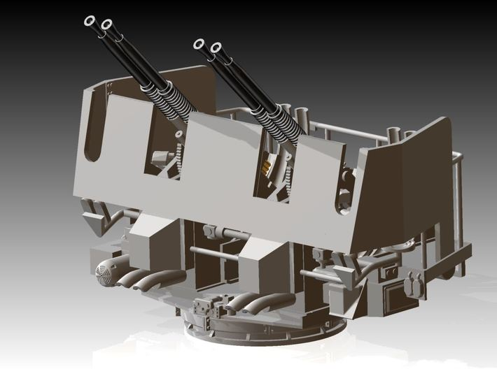 Quad Bofors Shielded - Elevated 1/144 3d printed