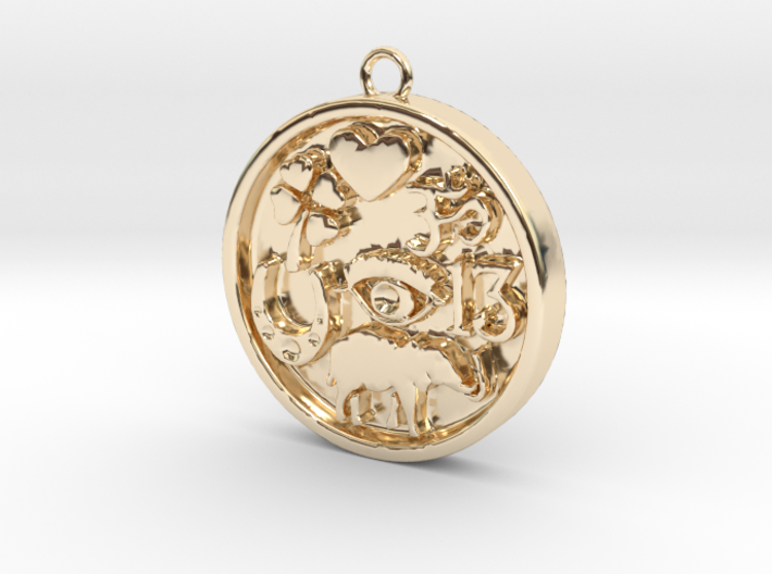 Good Luck Round Pendant 3d printed