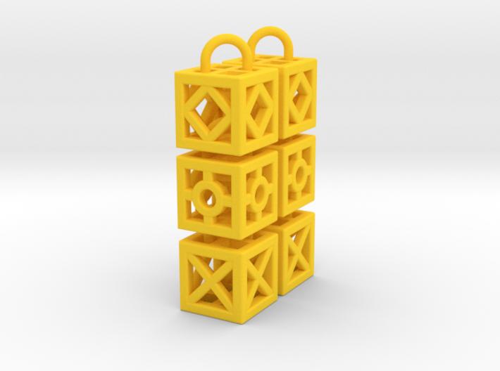 Blocks Earrings 3d printed