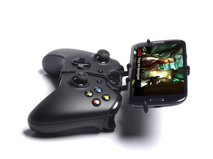Xbox One controller & Motorola Moto X Force - Fron 3d printed Side View - A Samsung Galaxy S3 and a black Xbox One controller