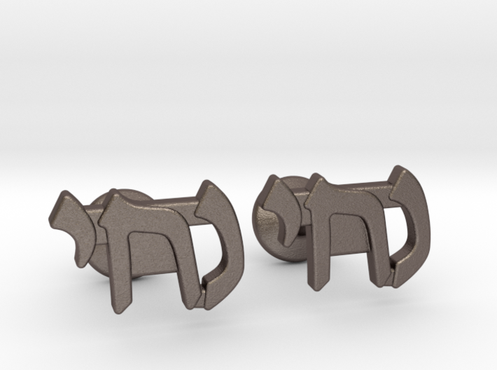 "Hebrew Name Cufflinks - ""Nuchi"" 3d printed"