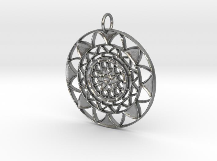 Sun Mandala pendant 3d printed