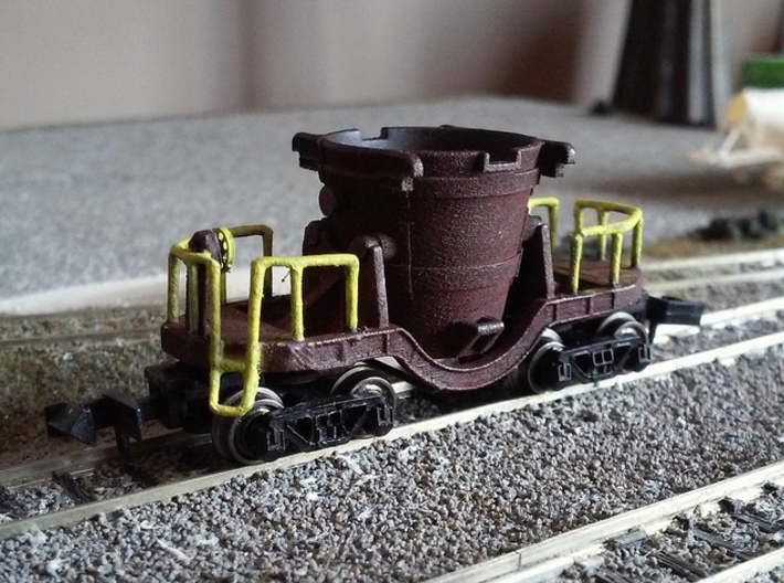 Iron Ladle Car Parts - Nscale 3d printed Painting and rails by @intermodalman123