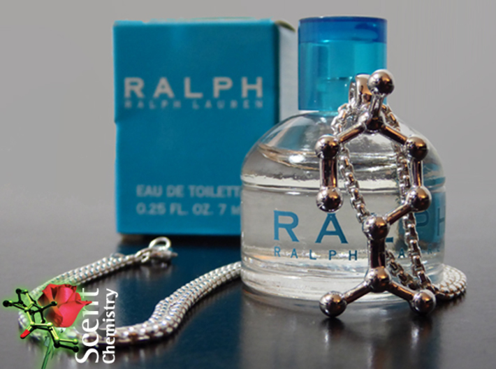 Linalool 3d printed Linalool pendant on a Thomas Sabo  KE1107-001-12 in front of a minature of 'Ralph' (Ralph Lauren, 2000), a freesia fragrance with linalool.
