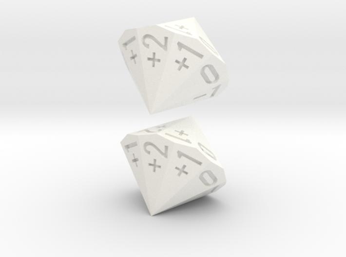 4-in-2 Fudge / Fate Dice (2d18 numbered as 4dF) 3d printed