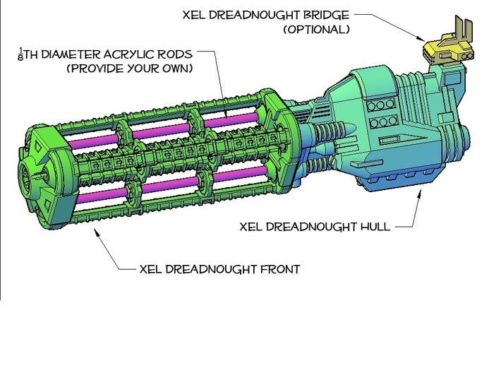 Xel Dreadnough Front 3d printed assembly guide