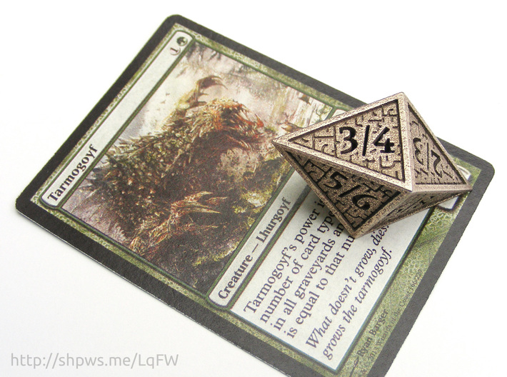 Hedron D8 Tarmogoyf (Hollow), balanced die 3d printed With a Magic card for scale.