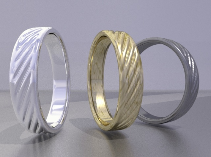 Hollow lines Ring 3d printed