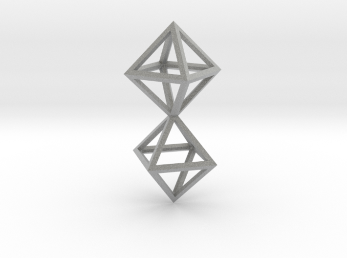 Faceted Twin Octahedron Frame Pendant Small 3d printed