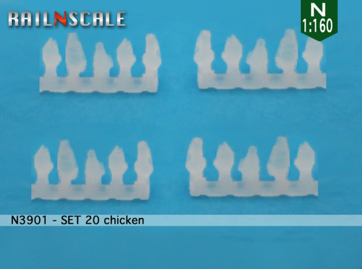 SET 20 chickens (N 1:160) 3d printed