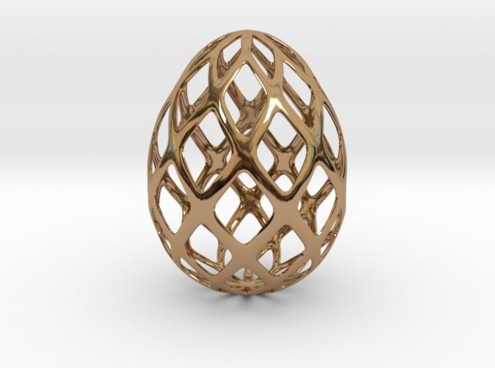 Trellis - Decorative Egg - 2.3 inches 3d printed polished brass egg design