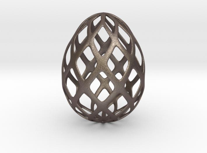 Trellis - Decorative Egg - 2.3 inches 3d printed steel mesh