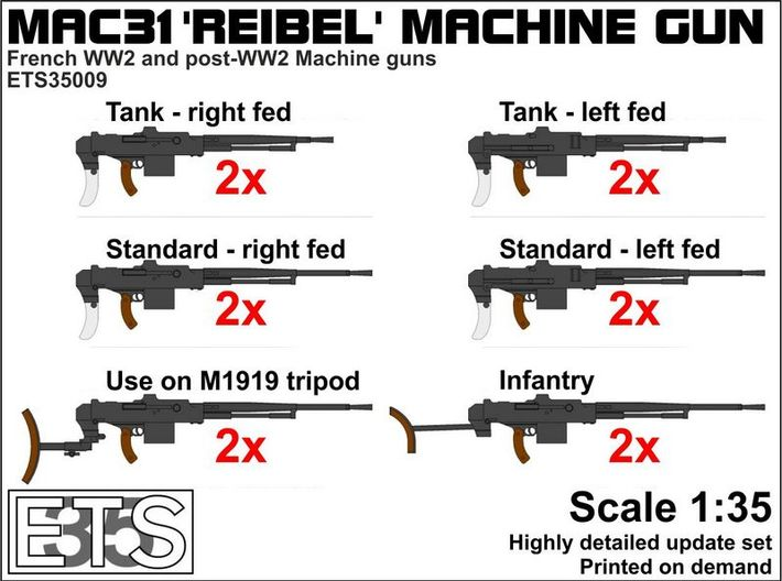 ETS35009 Reibel Machine Gun - 6 types, 2 of each 3d printed Boxart
