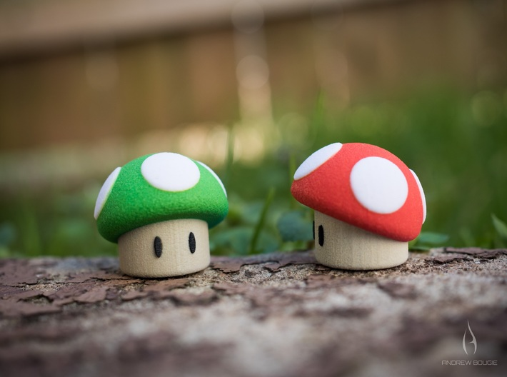 Green Shroom 3d printed Available in red or green.