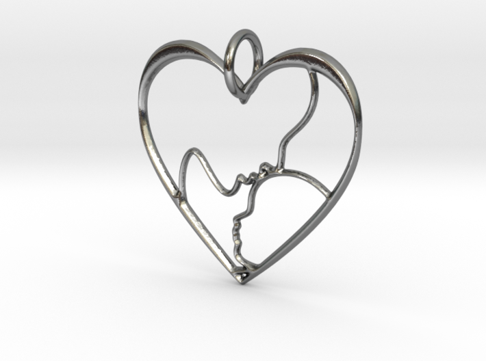 Mother and Child Heart Pendant 3d printed