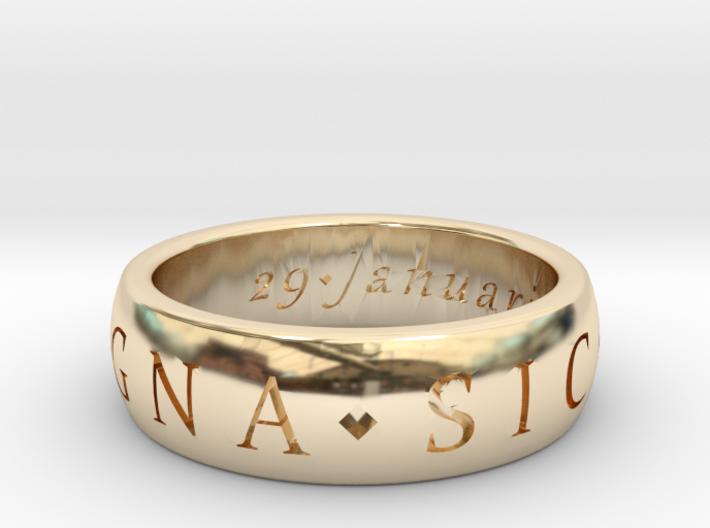 Size 7 Sir Francis Drake, Sic Parvis Magna Ring 3d printed