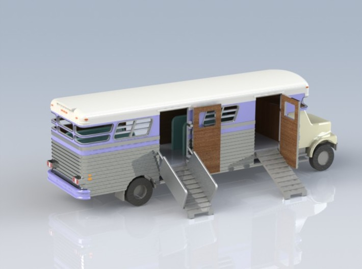 HO 1/87 - 1989 GMC 6-horse box 3d printed A CAD render showing all parts. The parts do NOT come coloured or with the SceneMaster chassis.