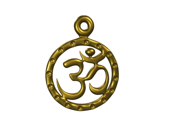 Om EarRings - Pair - Plastic 3d printed Gold Plated Brass (simulated).