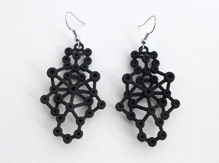 Amorphe Molecular Earrings - Chemistry Jewelry 3d printed Amorphe earrings in black nylon plastic