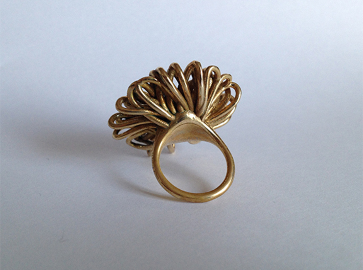 Ring 'Wiener Blume', Size 7.5 (Ø 17.7 mm) 3d printed 3D printed in 'Polished Brass'. Photographed with an Iphone 4S at daylight, no additional filters or lighting. The ring is a few months old and is starting to get a nice antique finish.