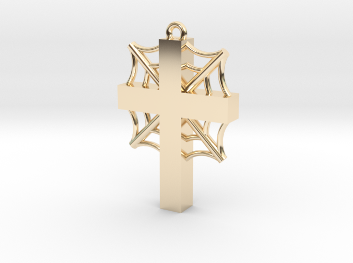 Cross with cobwebs and the words 3d printed