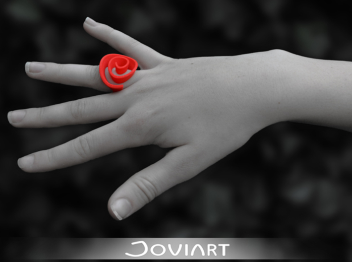 Curly Rose Ring 17mm 3d printed