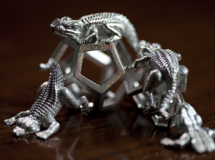 Reptiles & Dodecahedra mini sculpture Fine Art top 3d printed 100mm, f/2.8, low angle photo.