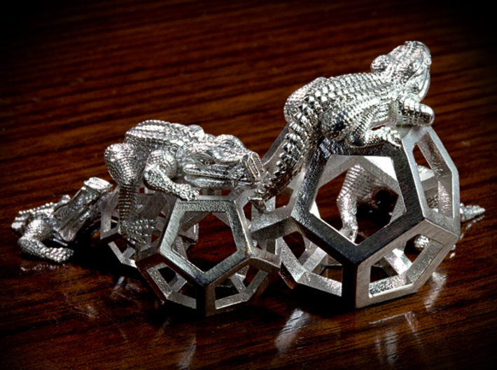 Reptiles & Dodecahedra mini sculpture Fine Art top 3d printed 100mm back side photo.