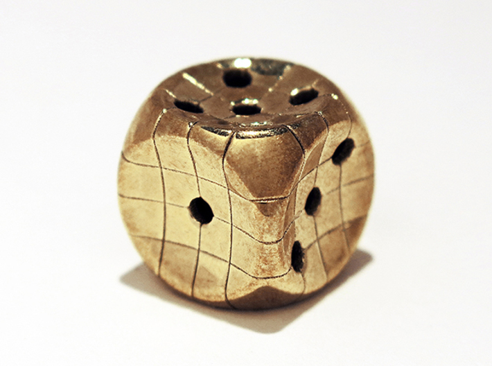 The Net D6 3d printed Polished Brass