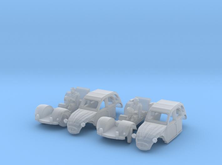 SET 2x Citroën 2CV - cornering (N 1:160) 3d printed