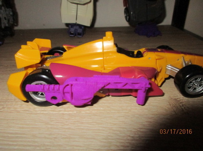 Menasor Brace Cannons 3d printed Mounted on Dragstrip