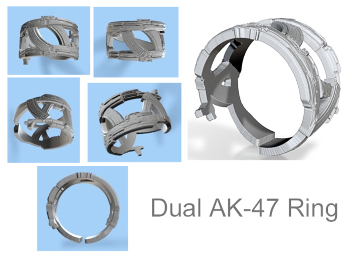Dual AK-47s and Magazines #1 Ring Size 12 3d printed