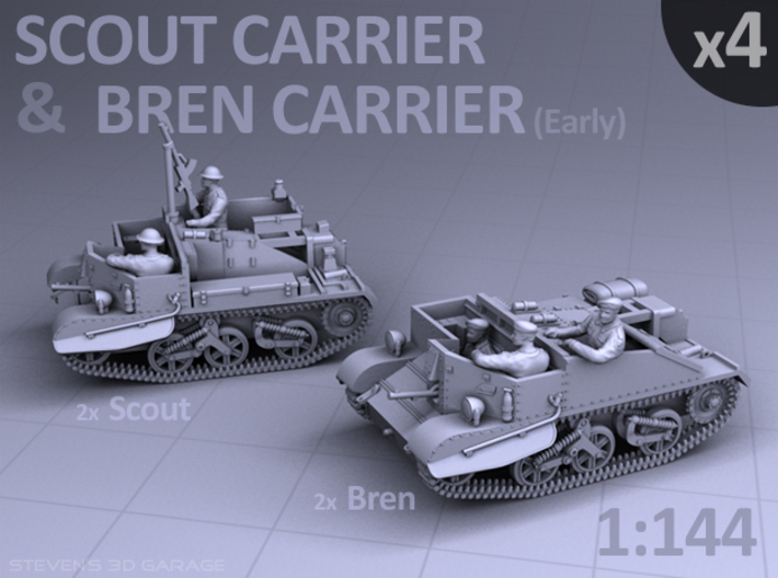 Scout and Bren Carrier (4 pack) 3d printed
