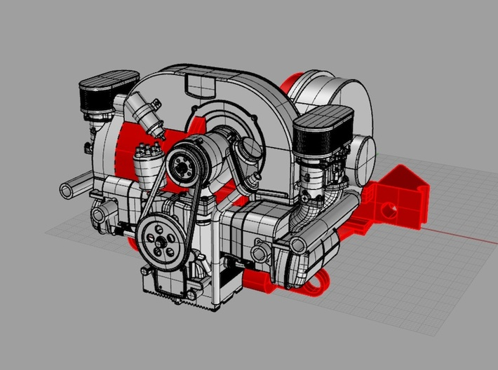 SR10001 Mk1 SRB Engine Part 1 of 6 3d printed CAD image. Parts in red are the Tamiya SRB Gearbox