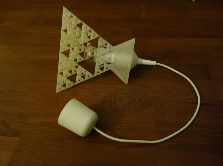 Sierpinski tetrix lamp shade 3d printed with light bulb