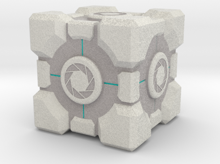 "Weighted Portal Cube (In Color) - Aperture 1"" 3d printed"