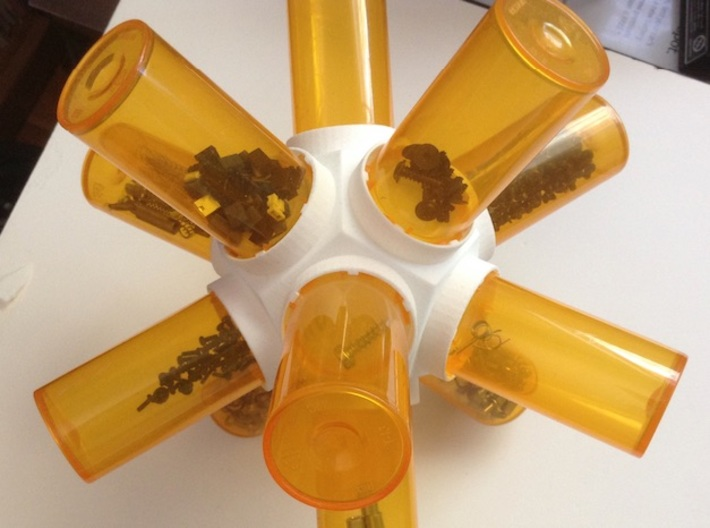 Pill Vial Dodecahedron Cap 13/16 Dram 3d printed Small parts storage!