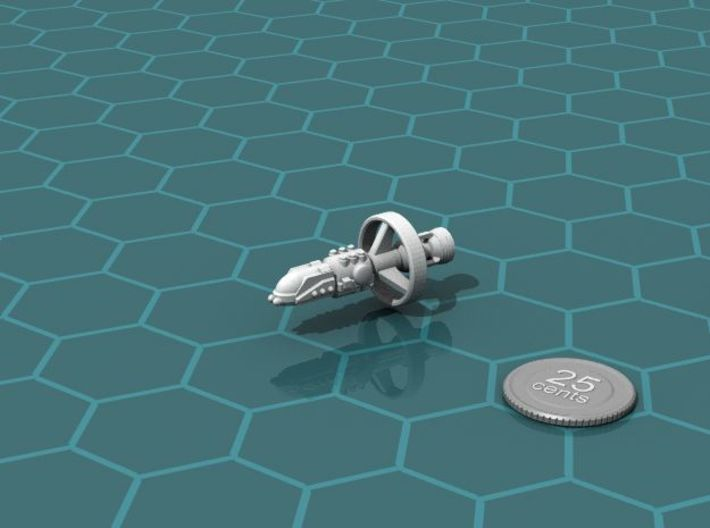 ISN Destroyer 3d printed Render of the model, with a virtual quarter for scale.
