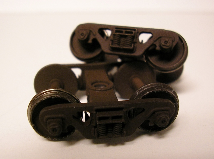 National swing motion 70 ton trucks 8 spring pack 3d printed Painted and assembled part with Intermountain wheelsets installed
