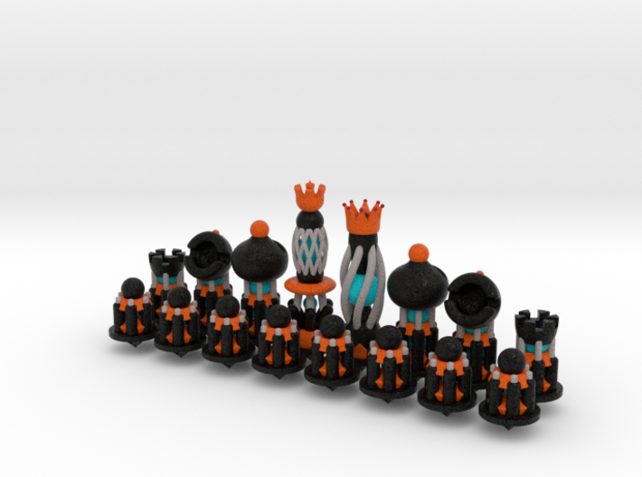 Galaxy Chess Pieces Set Black 3d printed