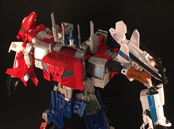 Combiner Wars Optimus Prime Smokestacks 3d printed PLease note that item in this picture is printed on my own 3D printer in Grey PLA