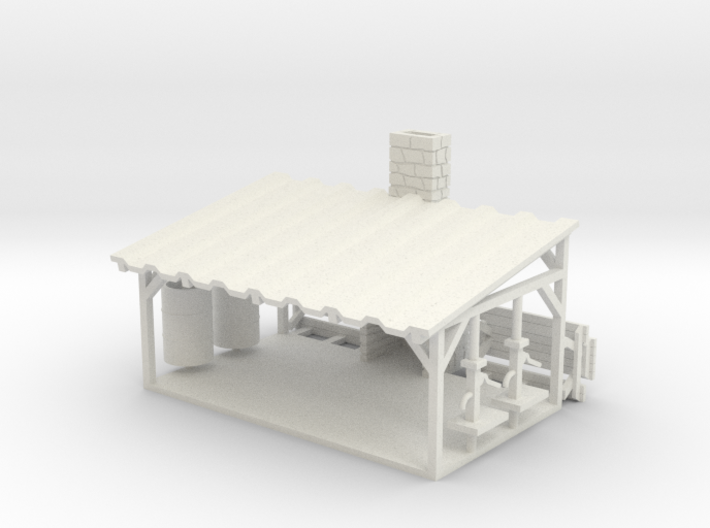 Picnic Shelter + Scene Parts - HO 87:1 Scale 3d printed