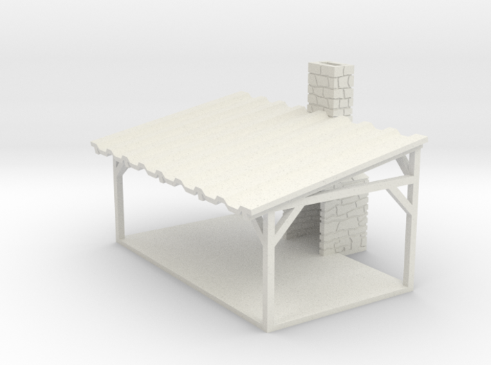 Picnic Shelter - HO 87:1 Scale 3d printed