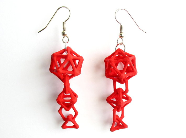Platonic Progression Earrings - Bone 3d printed Earrings shown printed in red Strong and Flexible, finished with silver-plated fishhook earwires