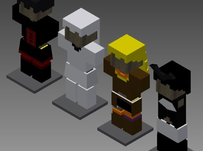 RWBY Minecraft Armor Set 3d printed A picture of each figurine with color