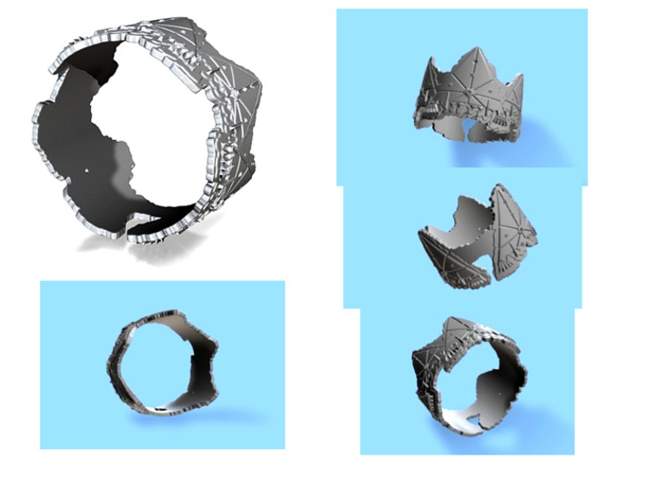 Cloud Ships 2, Ring Size 8 3d printed