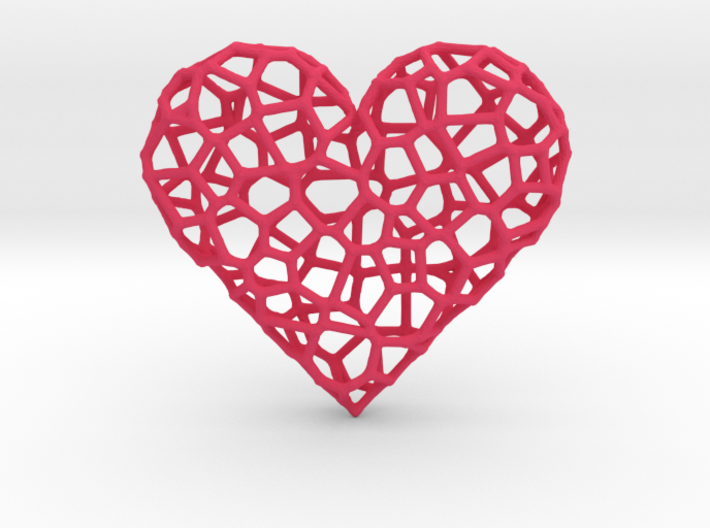 Voronoi Heart pendant (version 1) 3d printed