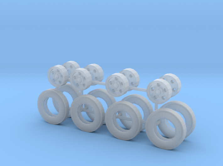 1/50th Tag trailer type five hole rims and tires 3d printed