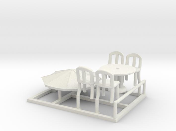 Sidewalk Cafe Set, HO Scale (1:87) 3d printed